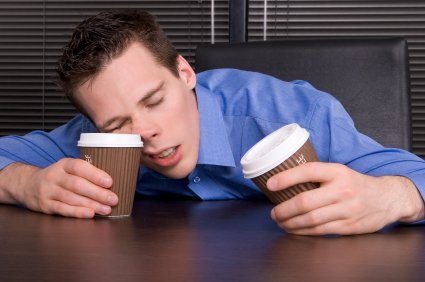 guy sleeping on coffee